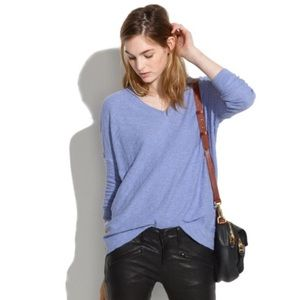 Madewell solid blue vneck skin Sweater #3226